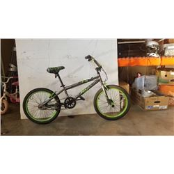 GREY AND GREEN BENT BIKE