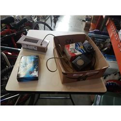 BOX OF ELECTRIC WATER TIMERS AND ELECTRIC FLOOR VENT