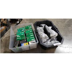 HUSKY TOOL TRAY OF CABINET HINGES AND TOTE OF RIVETS