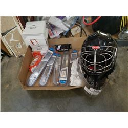 GOALIE MASK AND NEW REPLACEMENT BAUER SKATE BLADES WITH NEW LACES