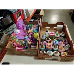 2 TRAYS OF KIDS TOYS AND LIDDED JARS
