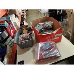 HUGE LOT OF LEGO ITEMS AND VINTAGE STORAGE BOX, INSTRUCTION BOOKS, LARGE BAG OF LEGO BRICKS, AND 5 P