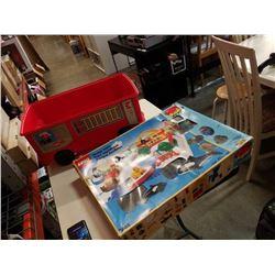 VINTAGE LEGO WATERPARK DUPLO W/ RED DUPLO FIRETRUCK STORAGE