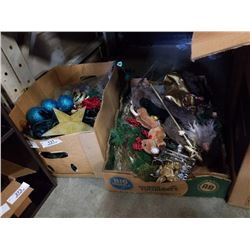 2 BOXES OF CHRISTMAS DECORATIONS AND LIGHTS