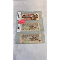 3 MINT 1986 CANADIAN 2 DOLLAR BILLS - 2 IN SEQUENCE, LAST ISSUE OF BILL