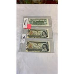 3 MINT 1973 CANADIAN 1 DOLLAR BILLS - 2 IN SEQUENCE, LAST ISSUE OF BILL