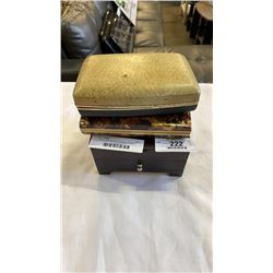 3 JEWELLERY BOXES W/ RINGS, CHAINS, CUFFLINKS, ETC