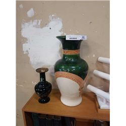 LARGE CERAMIC AND GLAZED VASE 21 INCHS AND MOTHER OF PEARL VASE