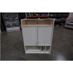 WHITE 2 DOOR CABINET WITH DISPLAY TOP