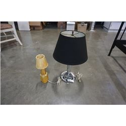 CHROME TABLE LAMPS AND YELLOW POTTERY TABLE LAMP