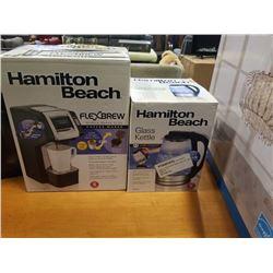 STORE RETURN HAMILTON BEACH 1.7L GLASS ELECTRIC KETTLE AND FLEXBREW SINGLE SERVE PLUS COFFEE MAKER