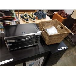 MASTER CHEF TOASTER OVEN AND WICKER BASKET OF HOUSEWARES