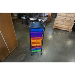 BLACK ROLLING SHELF WITH COLORED PLASTIC DRAWERS