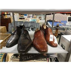 2 PAIRS OF HANDMADE SHOES JOHN LABB AND BERLUTI WITH STRETCHERS