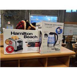 STORE RETURN HAMILTON BEACH TOASTER AND 1.7L GLASS ELECTRIC KETTLE