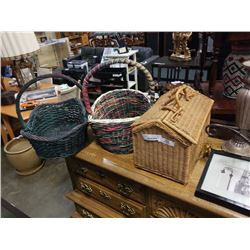 WICKER PICNIC BASKET WITH PINECONES AND WOVEN BASKETS