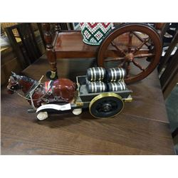 CLYDESDALE W/ CART OF BARRELS