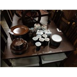 STOENWARE DISHES, MUGS AND TEACUPS