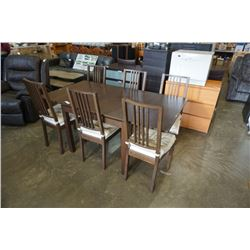 MODERN DRAWLEAF DINING TABLE AND 6 CHAIRS