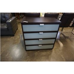MODERN 4 DRAWER DRESSER WITH GLASS FRONT