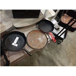 2 CAST IRON PANS AND OVER-THE-FIRE PAN