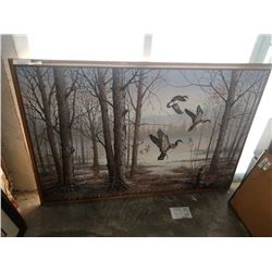 LARGE ACRYLIC PAINTING ON CANVAS - DUCK FOREST SCENE