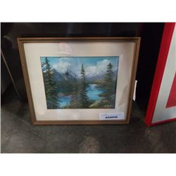 PASTEL ON PAPER MOUNTAIN LANDSCAPE WITH RIVER SIGNED WRIDE 1971