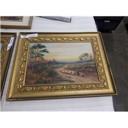 ANTIQUE PAINTING ON CANVAS BY A FAREY