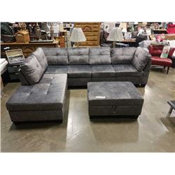 BRAND NEW 4 PIECE GREY SECTIONAL SOFA W/ REVERSIBLE CHAISE AND STORAGE OTTOMAN - RETAIL $1999