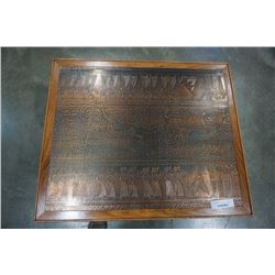 COPPER TOP COFFEE TABLE WITH ANCIENT EGYPTIAN STYLE DESIGN