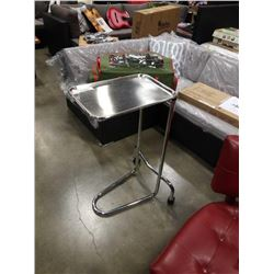 STAINLESS CART W/ REMOVEABLE AND ADJUSTABLE TRAY