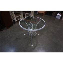 WHITE METAL BASE GLASSTOP TABLE
