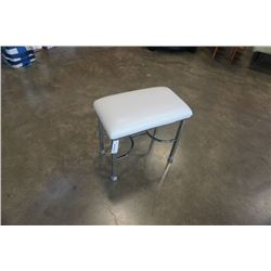 SMALL WHITE LEATHER AND CHROME  STOOL