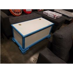 PAINTED BLUE AND WHITE TRUNK