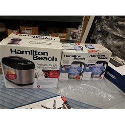 2 STORE RETURN HAMILTON BEACH 1.7L GLASS ELECTRIC KETTLES AND HAMILTAN BEACH ARTISAN DOUGH AND BREAD