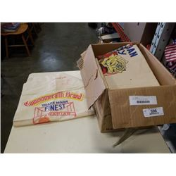 BOX OF VINTAGE FLOUR SACKS