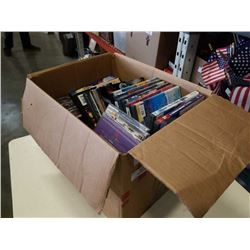 BOX OF DVDS, CDS