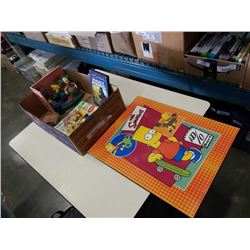 BOX OF SIMPSON COLLECTIBLES AND SIMPSON POSTER BOARD