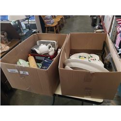 2 BOXES OF PLATTERS AND KITCHEN ITEMS