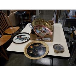 TRAY OF SERVING TRAYS AND PLATES