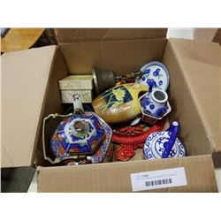 BOX OF PORCELAIN TEAPOTS, CERAMICS AND MORE