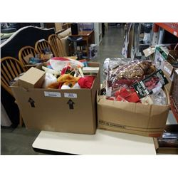 3 BOXES OF VINTAGE AND BAG NEW CHRISTMAS DECOR, CANDLES, ORNAMENTS, ETC