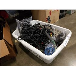 BASKET OF MICROPHONES AND AUDIO CABLES