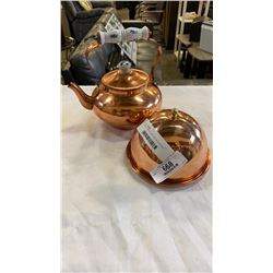 COPPER TEAPOT AND DISH WITH COVER