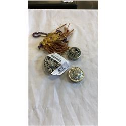3 FIRST NATION PEWTER ITEMS