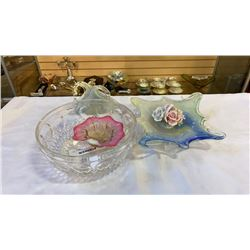 LOT OF ABSTRACT ART GLASS AND CRYSTAL BOWL