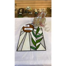 MURANO GLASS FLOWER AND LEADED GLASS HANGING