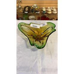 GREEN ART GLASS CHALET BOWL