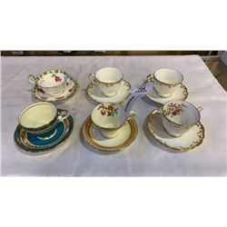 6 AYNSLEY CHINA TEACUPS AND SAUCERS