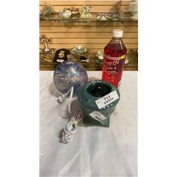 CERAMIC LAMP WITH SWIRL GLASS OIL LAMP AND OIL